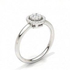 Invisible Prong Setting Round Diamond Cluster Ring