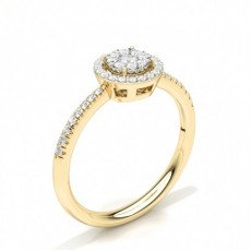 Yellow Gold Cluster Diamond Rings