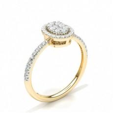 Gult Gull Diamant Klynge Ringer