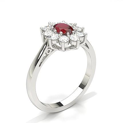 oval halo rubin förlovningsring