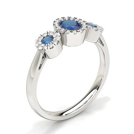 Bezel Setting Blue Sapphire Three Stone Ring