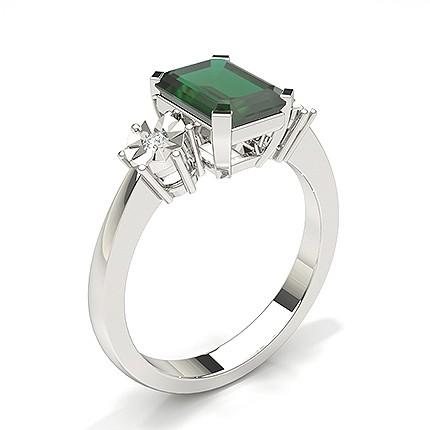 Anello Con Tre Pietre In Smeraldo Con Montatura A Griffe