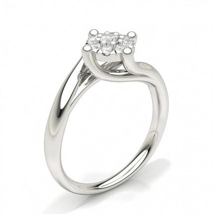 Runder Diamant-Cluster-Ring mit Mikrozinkeneinstellung