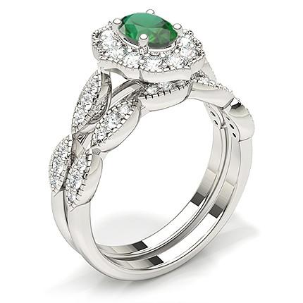 Klo Innfatning Oval Halo Smaragd Forlovelsesring