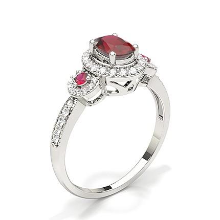 Bague de fiançailles rubis ovale serti griffes