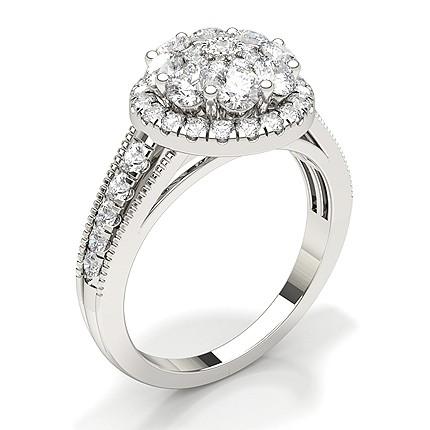 Micro Prong Setting Round Diamond Bridal Set Engagement Ring