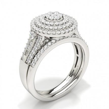 Del Indfatning Rund Diamant Kombination Forlovelsesring