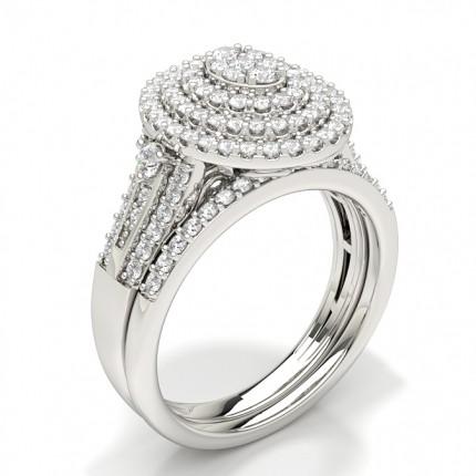 Anello Di Fidanzamento Con Diamante Rotondo Da Sposa Con Incastonatura Condivisa