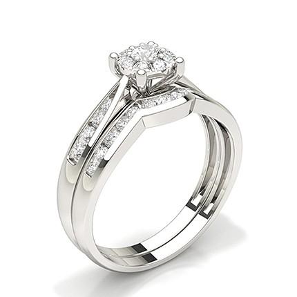 Kanal Innfatning Rund Diamant Brudesett Forlovelsesring