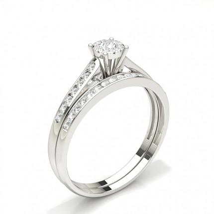 Channel Setting Round Diamond Bridal Set Engagement Ring