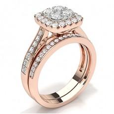 Oro rosa Set di fidanzamento e fedi nuziali