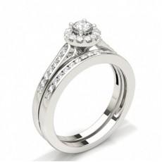 Rund Diamant Kombination Forlovelsesring Med Kanalfatning