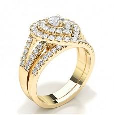 Gult Gull Brude Forlovelses og Gifterings Sett