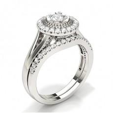 Micro Indfatning Rund Diamant Kombination Forlovelsesring