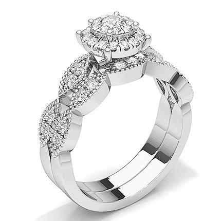 Bague de fiançailles en diamant rond serti micro griffes