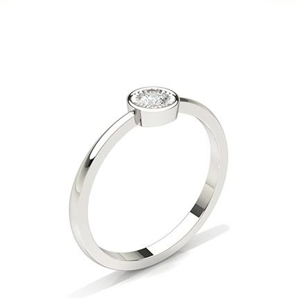 Bague de fiançailles solitaire diamant rond serti de plaque IP