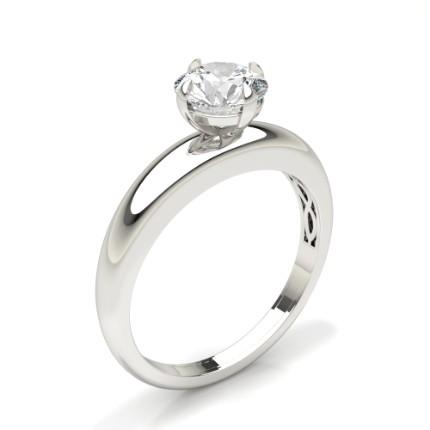 Anillo De Compromiso Con Solitario De Diamantes Con Montura De Clavijas