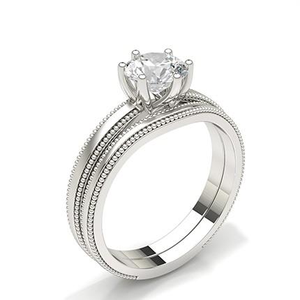 Anillo De Compromiso De Diamantes En Conjunto Nupcial De Oro Blanco