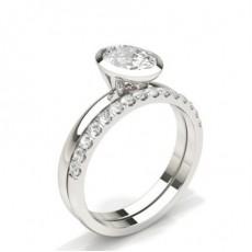 Oval Brude Forlovelses og Gifterings Sett