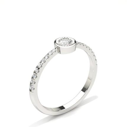 Anello Di Fidanzamento Con Diamante Rotondo In Pietra Laterale Con Piastra Illusion