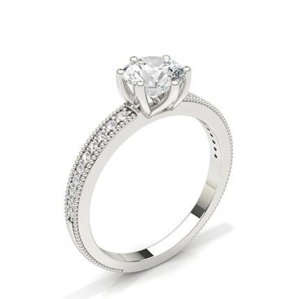 Anello Di Fidanzamento Con Diamante In Rotondo In Pietra Laterale Con Montatura A Griffe