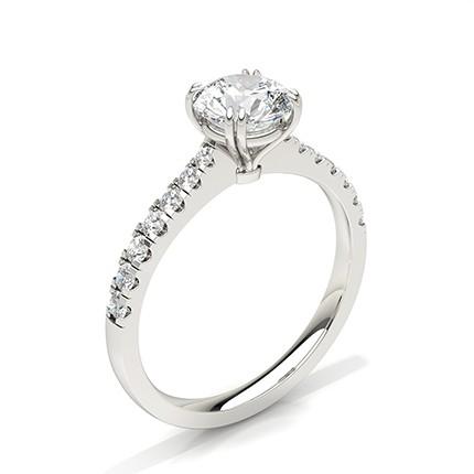 Bague de fiançailles diamant avec pierre latérale ronde et griffes