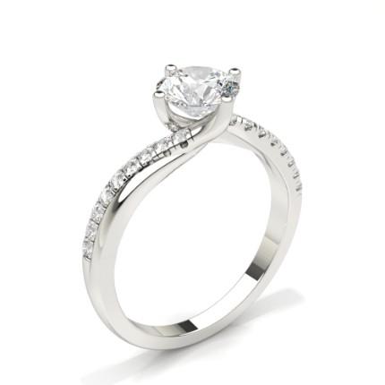 Anello Di Fidanzamento Con Diamante Rotondo In Pietra Laterale Con Montatura A Griffe