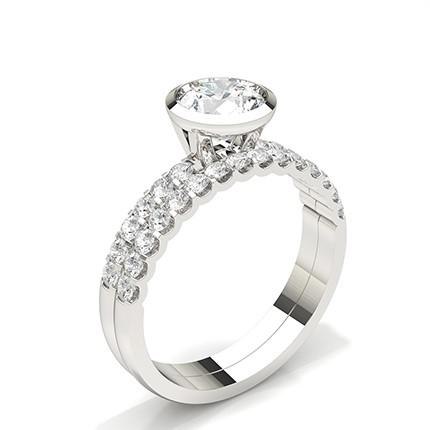 Anello Di Fidanzamento Con Diamante Da Sposa In Oro Bianco