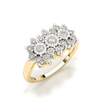 Illusjon Plate Innfatning Rund Diamant Mote Ring