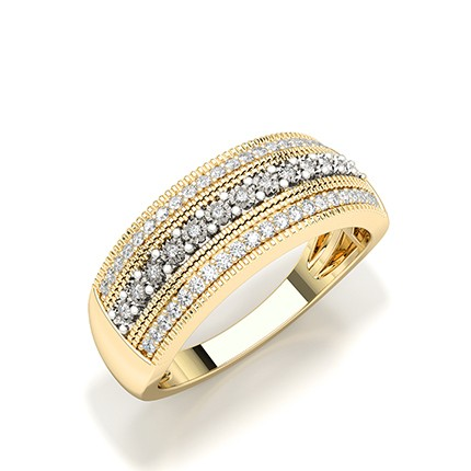 Anello Alla Moda Con Diamanti Rotondi Con Montatura A Piastra Illusion