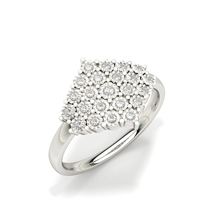 Bague fantaisie diamant rond serti plaque illusion