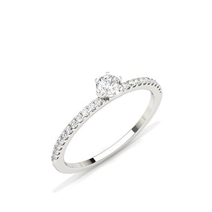 Anello Di Fidanzamento Con Diamante In Pietra Laterale Con Montatura A Griffe