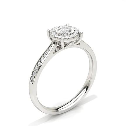 Anello Di Fidanzamento Con Diamante Halo Con Montatura A Piastra Miracle