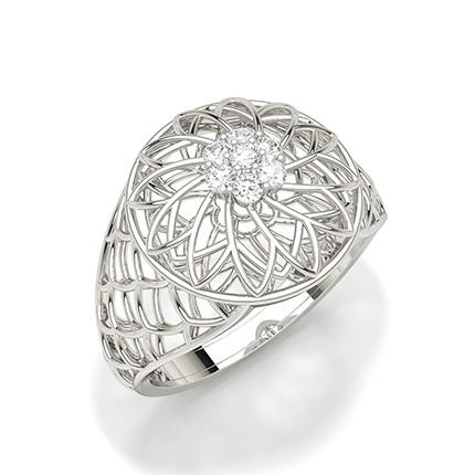 Anello Con Diamante Rotondo Con Montatura A Griffe