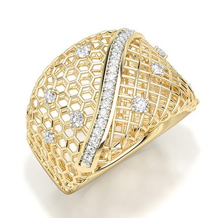 Anillo Llamativo De Diamantes Redondos Engastados Con Clavijas