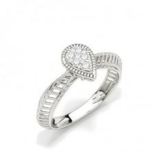 Or Blanc Bagues en diamant pour tous les jours