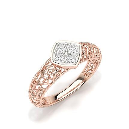 Bague en grappe de diamants ronds sertis de pression