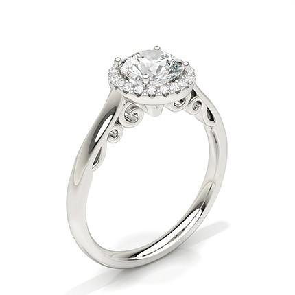 Anillo De Compromiso Con Halo De Diamantes Engastado De Clavijas