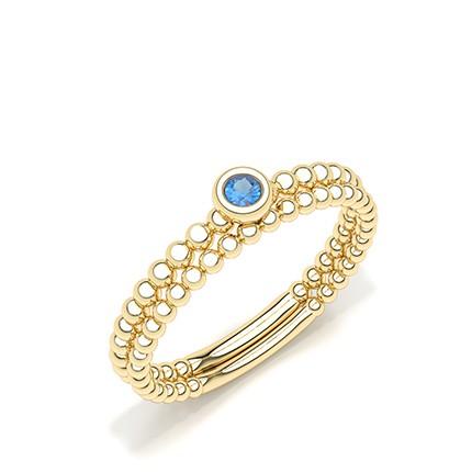 Bezel Setting Round Blue Sapphire Ring