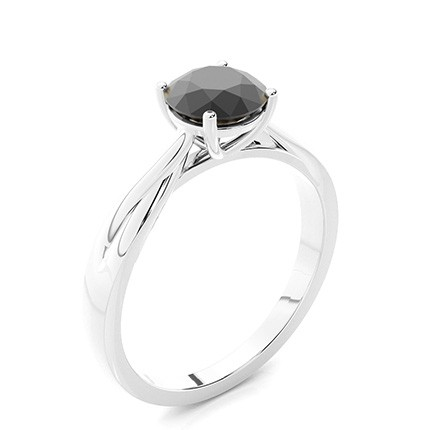 Prong Ställa in Solitaire Black Diamond Engagement Ring