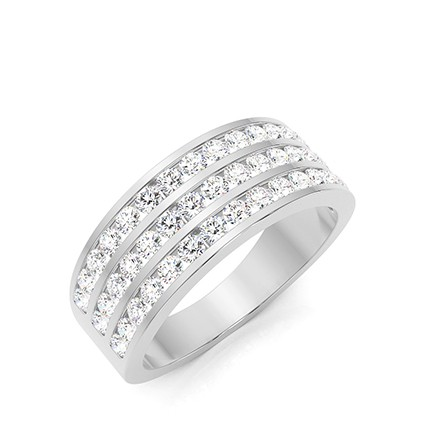 Bague homme diamant rond serti canal