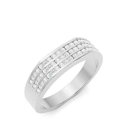 Anillo De Diamantes Talla Brillante Engarzados En Canal Para Hombre