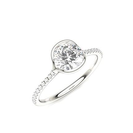 Halbe Lünette Set Runder Seitenstein-Diamant-Verlobungsring