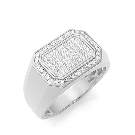 Anello da uomo con diamante rotondo con montatura a pavé