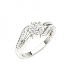 Hvitt Gull Hverdags Diamantringer