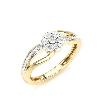Anello cluster con diamanti rotondi con montatura a griffe con placca illusoria